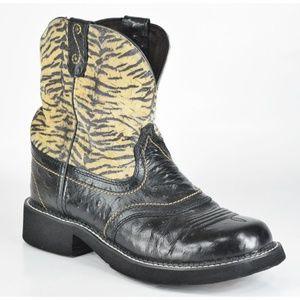 Justin Gypsy Tiger Black Ostrich Western Boots